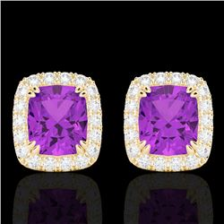 2.50 CTW Amethyst & Micro Pave VS/SI Diamond Certified Halo Earrings 10K Yellow Gold - REF-41W3H - 2