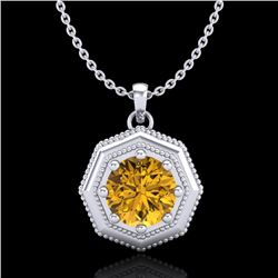 0.75 CTW Intense Fancy Yellow Diamond Art Deco Stud Necklace 18K White Gold - REF-100X2T - 37945