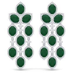 35.15 CTW Royalty Emerald & VS Diamond Earrings 18K White Gold - REF-590R9K - 38922
