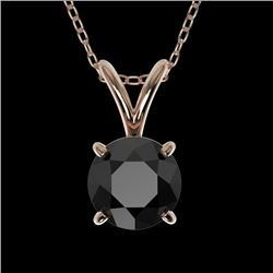 0.75 CTW Fancy Black VS Diamond Solitaire Necklace 10K Rose Gold - REF-27T3X - 33176