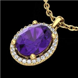 2.50 CTW Amethyst & Micro Pave VS/SI Diamond Necklace Halo 18K Yellow Gold - REF-44K9R - 21068