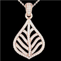 1.25 CTW Micro Pave VS/SI Diamond Certified Necklace Designer 14K Rose Gold - REF-99X6T - 21284