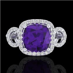 3.75 CTW Amethyst & Micro VS/SI Diamond Certified Ring 18K White Gold - REF-65M8F - 22995