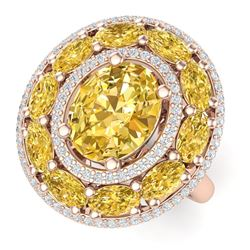 7.21 CTW Royalty Canary Citrine & VS Diamond Ring 18K Rose Gold - REF-163M6F - 39253