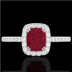 1.25 CTW Ruby & Micro Pave VS/SI Diamond Certified Halo Ring 10K White Gold - REF-34Y2N - 22908