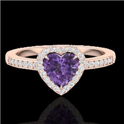 1 CTW Amethyst & Micro Pave Ring Heart Halo 14K Rose Gold - REF-33W6H - 21399