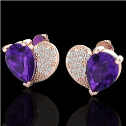 2.50 CTW Amethyst & Micro Pave VS/SI Diamond Certified Earrings 10K Rose Gold - REF-30Y2N - 20063