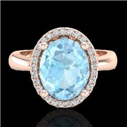 2.50 CTW Aquamarine & Micro Pave VS/SI Diamond Ring Halo 14K Rose Gold - REF-53H5W - 21094