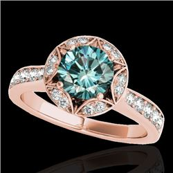 1.5 CTW SI Certified Fancy Blue Diamond Solitaire Halo Ring 10K Rose Gold - REF-180N2Y - 34235