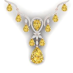 35.70 CTW Royalty Canary Citrine & VS Diamond Necklace 18K Rose Gold - REF-618R2K - 38602