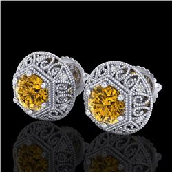 1.31 CTW Intense Fancy Yellow Diamond Art Deco Stud Earrings 18K White Gold - REF-149M3F - 37560