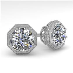 2 CTW VS/SI Diamond Stud Solitaire Earrings 18K White Gold - REF-499H3W - 35973
