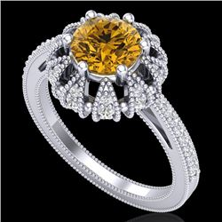 1.65 CTW Intense Fancy Yellow Diamond Engagement Art Deco Ring 18K White Gold - REF-230N9Y - 37728