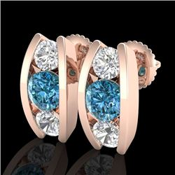 2.18 CTW Fancy Intense Blue Diamond Art Deco Stud Earrings 18K Rose Gold - REF-254H5W - 37769