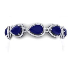 42.47 CTW Royalty Sapphire & VS Diamond Bracelet 18K White Gold - REF-536F4M - 39561