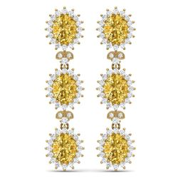 19.06 CTW Royalty Canary Citrine & VS Diamond Earrings 18K Yellow Gold - REF-336R4K - 38654