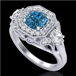 2.11 CTW Intense Blue Diamond Solitaire Art Deco 3 Stone Ring 18K White Gold - REF-283F6M - 38300