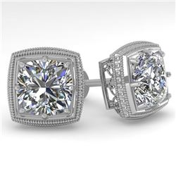 2.0 CTW VS/SI Cushion Cut Diamond Stud Earrings Deco 14K White Gold - REF-512Y8N - 29787