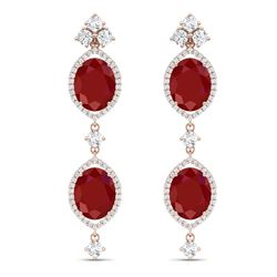 15.81 CTW Royalty Designer Ruby & VS Diamond Earrings 18K Rose Gold - REF-309F3M - 38908