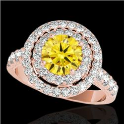 2.25 CTW Certified Si Fancy Intense Yellow Diamond Solitaire Halo Ring 10K Rose Gold - REF-218X2T -