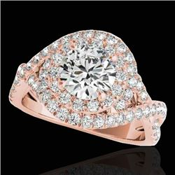 2 CTW H-SI/I Certified Diamond Solitaire Halo Ring 10K Rose Gold - REF-236T4X - 33874