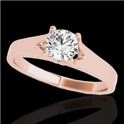 1.5 CTW H-SI/I Certified Diamond Solitaire Ring 10K Rose Gold - REF-329K8R - 35165