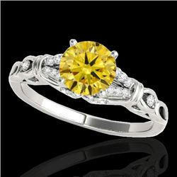 1.2 CTW Certified Si Fancy Intense Yellow Diamond Solitaire Ring 10K White Gold - REF-156N4Y - 35257