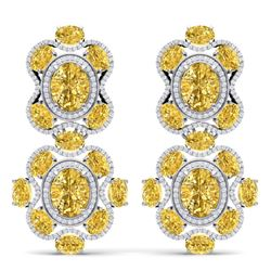 29.21 CTW Royalty Canary Citrine & VS Diamond Earrings 18K White Gold - REF-409N3Y - 39324