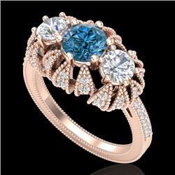 2.26 CTW Fancy Intense Blue Diamond Art Deco 3 Stone Ring 18K Rose Gold - REF-254W5H - 37748