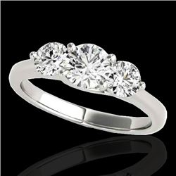 2 CTW H-SI/I Certified Diamond 3 Stone Solitaire Ring 10K White Gold - REF-281K8R - 35385