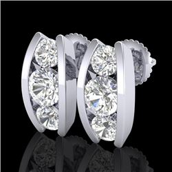 2.18 CTW VS/SI Diamond Solitaire Art Deco Stud Earrings 18K White Gold - REF-300F2M - 37010