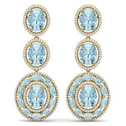 34.52 CTW Royalty Sky Topaz & VS Diamond Earrings 18K Yellow Gold - REF-354Y5N - 39269