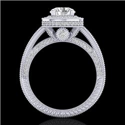 2.8 CTW VS/SI Diamond Solitaire Art Deco Ring 18K White Gold - REF-527M3F - 37136