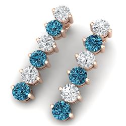 6 CTW Certified Si/I Fancy Blue & White Diamond Earrings 18K Rose Gold - REF-450M2F - 40213