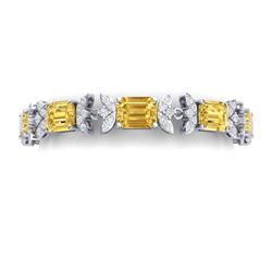 35.21 CTW Royalty Canary Citrine & VS Diamond Bracelet 18K White Gold - REF-356W4H - 39402