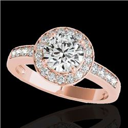 2 CTW H-SI/I Certified Diamond Solitaire Halo Ring 10K Rose Gold - REF-355H5W - 34352