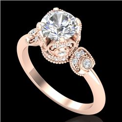 1.75 CTW VS/SI Diamond Solitaire Art Deco Ring 18K Rose Gold - REF-398T2X - 36855