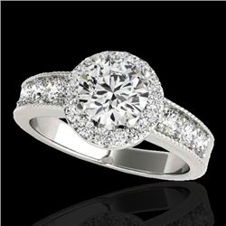 2.1 CTW H-SI/I Certified Diamond Solitaire Halo Ring 10K White Gold - REF-227W3H - 34540