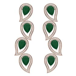 16.44 CTW Royalty Emerald & VS Diamond Earrings 18K Rose Gold - REF-336K4R - 39451