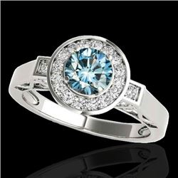 1.75 CTW SI Certified Fancy Blue Diamond Solitaire Halo Ring 10K White Gold - REF-223F6M - 34581