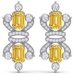 25.35 CTW Royalty Canary Citrine & VS Diamond Earrings 18K White Gold - REF-490T9X - 38772