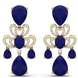 58.73 CTW Royalty Sapphire & VS Diamond Earrings 18K Yellow Gold - REF-509F3M - 38678