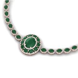 43.54 CTW Royalty Emerald & VS Diamond Necklace 18K Rose Gold - REF-981T8X - 39274