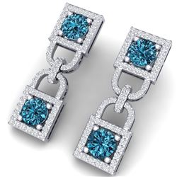 4 CTW Si/I Fancy Blue And White Diamond Earrings 18K White Gold - REF-265T9X - 40160