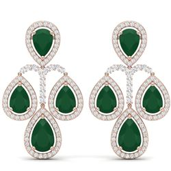 29.23 CTW Royalty Emerald & VS Diamond Earrings 18K Rose Gold - REF-509K3R - 39361