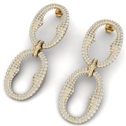 7 CTW Certified VS/SI Diamond Earrings 18K Yellow Gold - REF-436Y4N - 40066