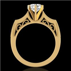 1.25 CTW VS/SI Diamond Art Deco Ring 18K Yellow Gold - REF-400R2K - 37075