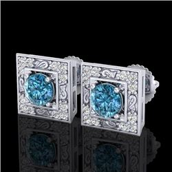 1.63 CTW Fancy Intense Blue Diamond Art Deco Stud Earrings 18K White Gold - REF-176W4H - 38160