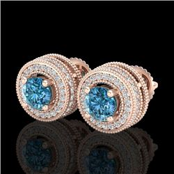 2.09 CTW Fancy Intense Blue Diamond Art Deco Stud Earrings 18K Rose Gold - REF-218W2H - 38014
