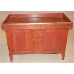 EARLY PENNSYLVANIA RED PAINTED DRY SINK